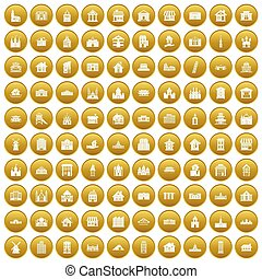 100 building icons set gold