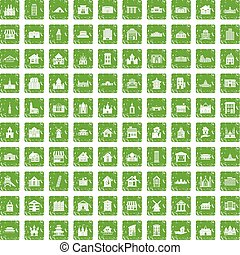 100 building icons set grunge green