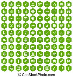 100 bullet icons hexagon green
