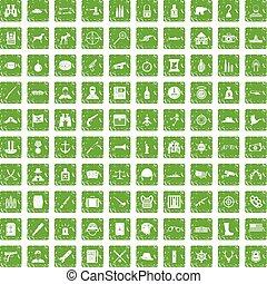 100 bullet icons set grunge green