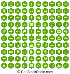 100 burden icons hexagon green