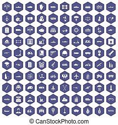 100 burden icons hexagon purple