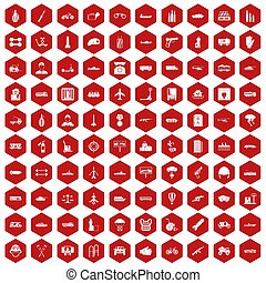 100 burden icons hexagon red