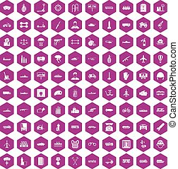 100 burden icons hexagon violet