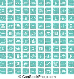 100 burden icons set grunge blue