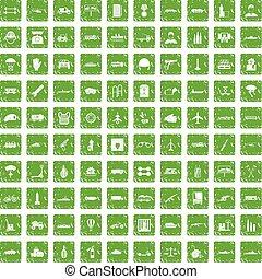 100 burden icons set grunge green