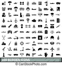 100 burden icons set, simple style