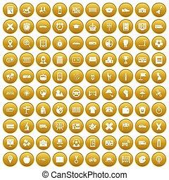 100 bus icons set gold