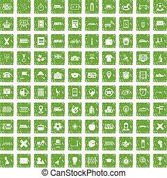 100 bus icons set grunge green