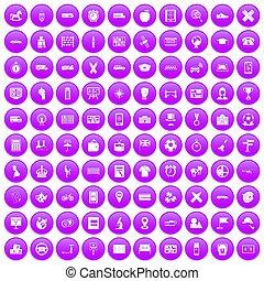 100 bus icons set purple