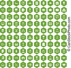 100 business career icons hexagon green