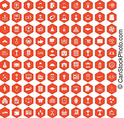 100 business career icons hexagon orange