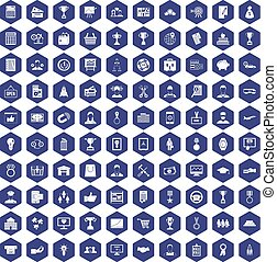 100 business career icons hexagon purple