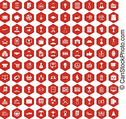 100 business career icons hexagon red