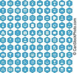 100 business career icons set blue