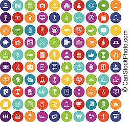 100 business career icons set color