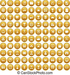 100 business career icons set gold - 100 business career...