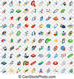 100 business career icons set, isometric 3d style