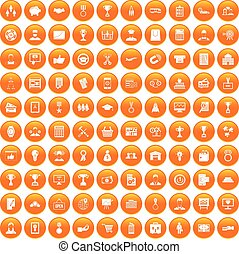 100 business career icons set orange