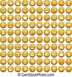 100 business group icons set gold - 100 business group icons...