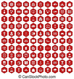 100 business icons hexagon red