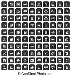 100 business icons set black