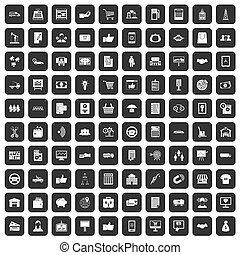 100 business icons set black