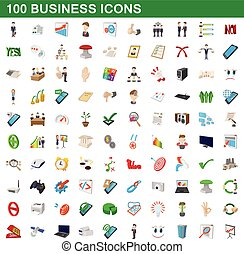 100 business icons set, cartoon style