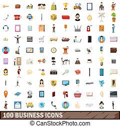 100 business icons set, cartoon style