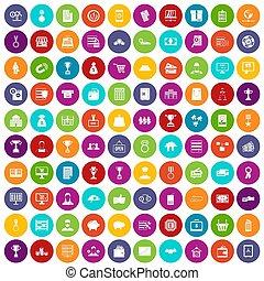100 business icons set color