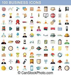 100 business icons set, flat style