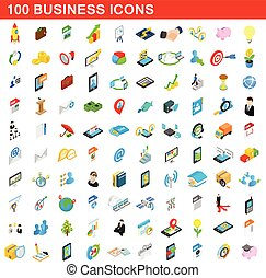 100 business icons set, isometric 3d style