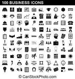 100 business icons set, simple style