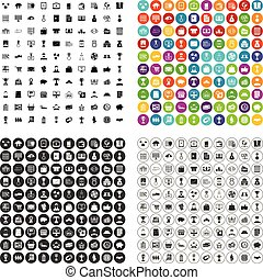 100 business icons set vector variant
