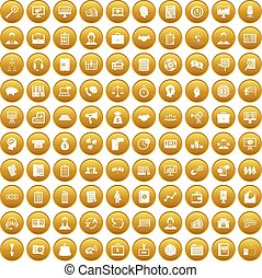 100 business people icons set gold - 100 business people...