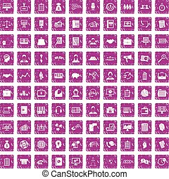 100 business people icons set grunge pink