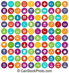 100 business strategy icons set color