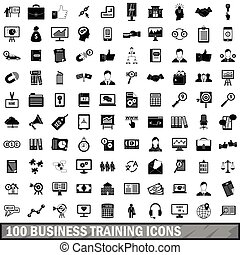 100 business training icons set, simple style