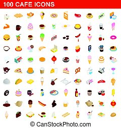 100 cafe icons set, isometric 3d style