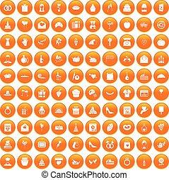 100 cake icons set orange