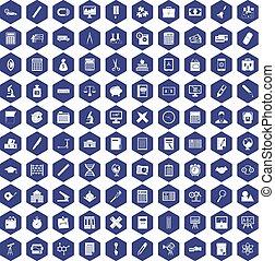 100 calculator icons hexagon purple