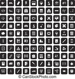 100 calculator icons set black