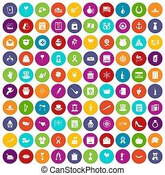 100 calendar icons set color