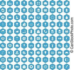 100 calories icons set blue