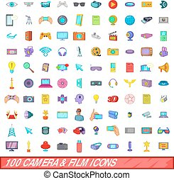 100 camera and film icons set, cartoon style