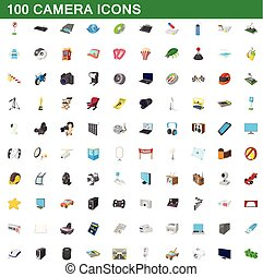 100 camera icons set, cartoon style