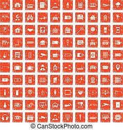 100 camera icons set grunge orange