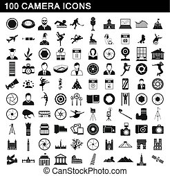 100 camera icons set, simple style