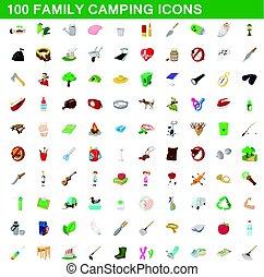 100, camping famille, icônes, ensemble, dessin animé, style
