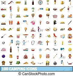 100, camping, icônes, ensemble, dessin animé, style